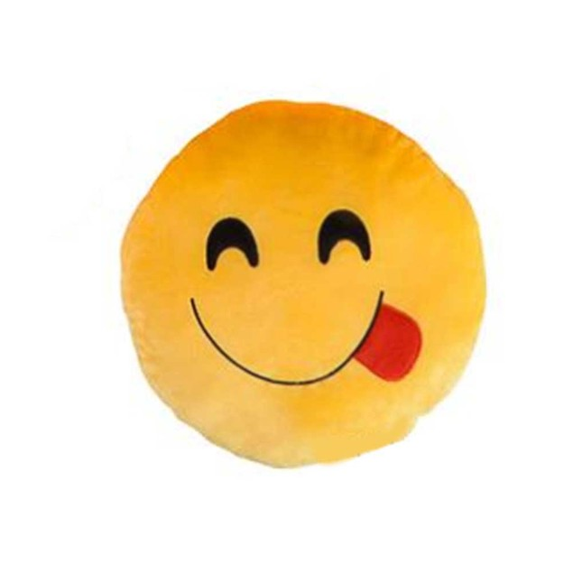 Tongue Out Smile Yellow Emoji Pillow