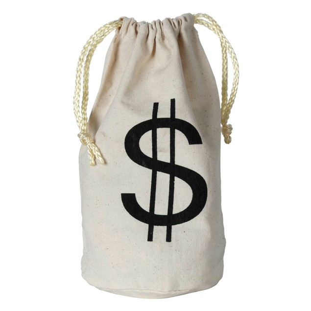 Wild West Money Bag Western Cowboy $ Bank Stolen Large Costume Prop Burlap
