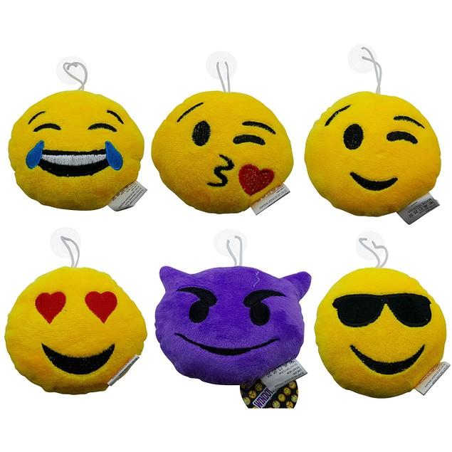 Soft Plush Mini Emoji Window Mount Pillow Cup Set of 6