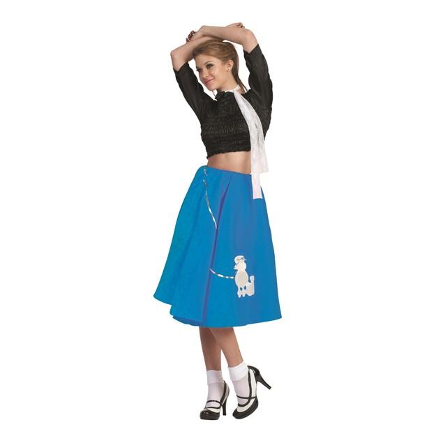 Blue Poodle Skirt 50's Scarf Sock Hop 1950's Retro Grease Sandra Dee Adult