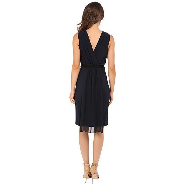 Christin Michaels Women's Pam Crepe Chiffon Dress Navy Dress 6