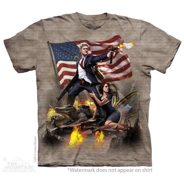 Bill Clinton Guns Adult T-Shirt President Presidential USA America Mountain