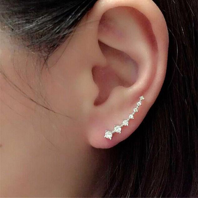 1Pair Rhinestone Crystal Earrings Ear Hook Stud Jewelry