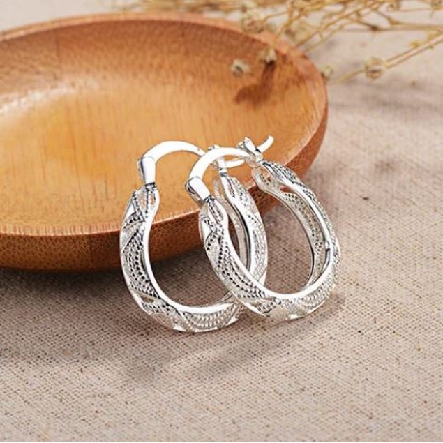 Sterling Silver Cut Out Fancy Hoop Earrings