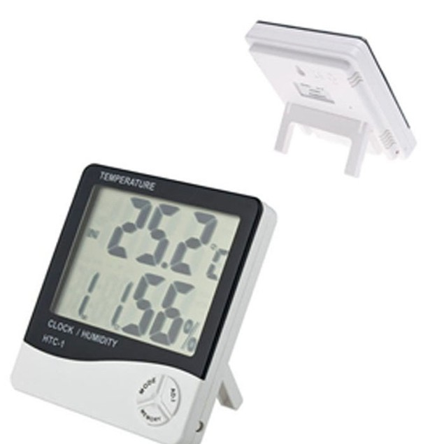LCD Digital Temperature Humidity Meter Hygrometer Alarm Clock Time oC/oF