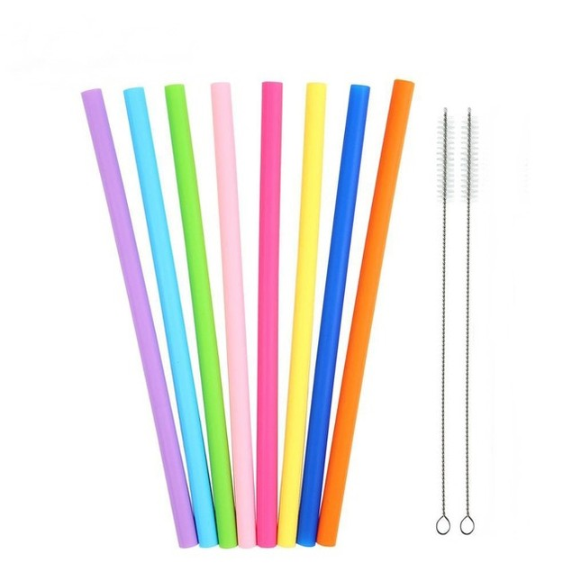 Assorted 8 Pack Reusable Silicone Straws with Cleaning Tools