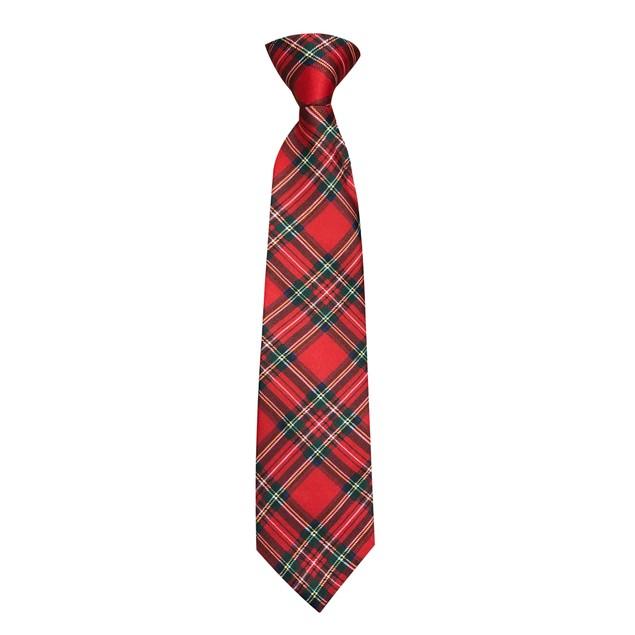 Men's Red Christmas Plaid Zipper Neck Tie