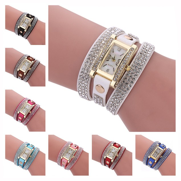 Luxury Crystal Quartz Bracelet Wristwatch - 8 Colors