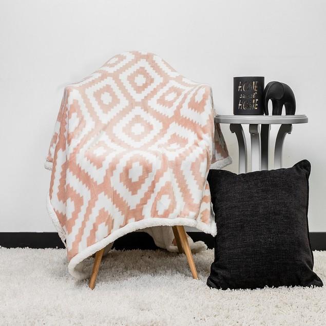 Geometric Ultra Plush & Soft Fleece Sherpa Throw Blanket by KENSIE