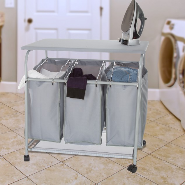 Lavish Home Rolling 3 Bin Laundry Sorter and Ironing Station - Gray