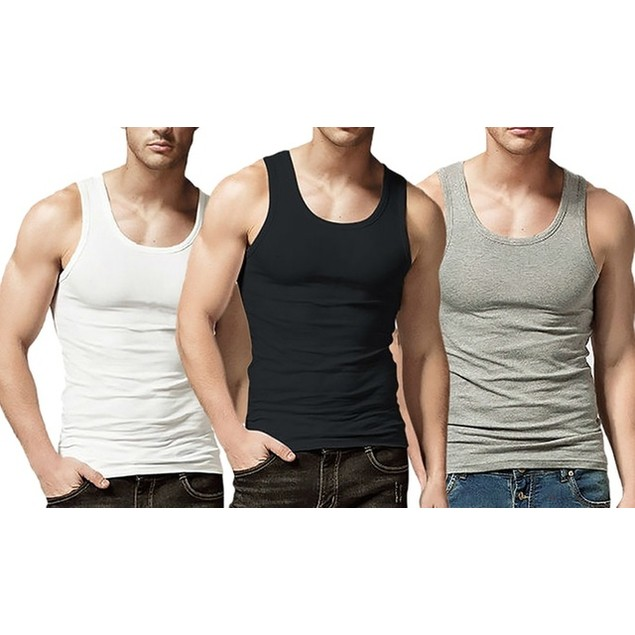 6-Pack Men's 100% Ring Spun Cotton A-Shirts Tank Tops