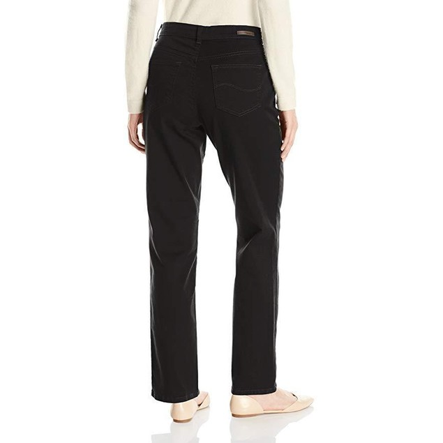 LEE Women's Relaxed Fit Straight Leg Jean, Authentic Black, 18 Medium