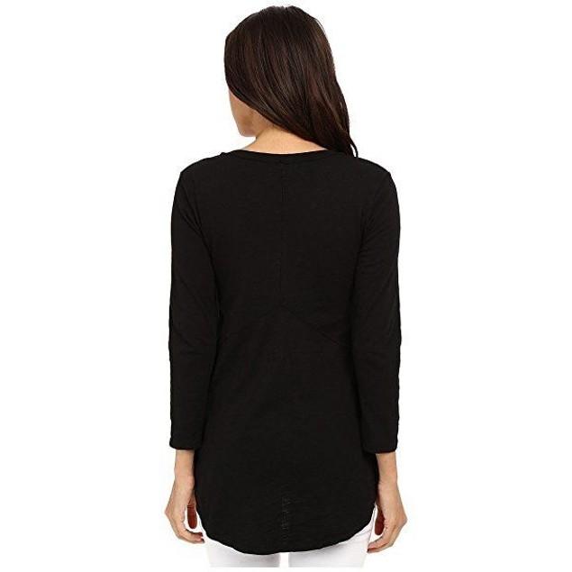 Mod-o-doc Slub Jersey 3/4 Sleeve V-Neck Tunic Black Women's Blouse SZ: