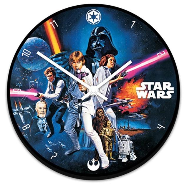 "Star Wars Wall Clock Battery Operated Wood Characters Original Movie 13.5"""