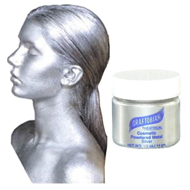 Cosmetic Powdered Metals - Silver Graftobian Cruelty Free USA Makeup 0.5 oz
