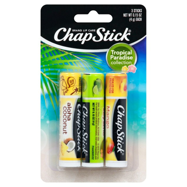 Chapstick Tropical Paradise Collection Flavored Lip Balm Variety Pack, 3