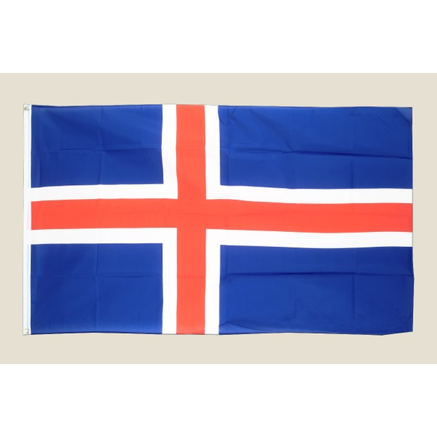 Iceland 3x5 Flag Blue White Red Polyester 2 Brass Grommets Country Iclandic
