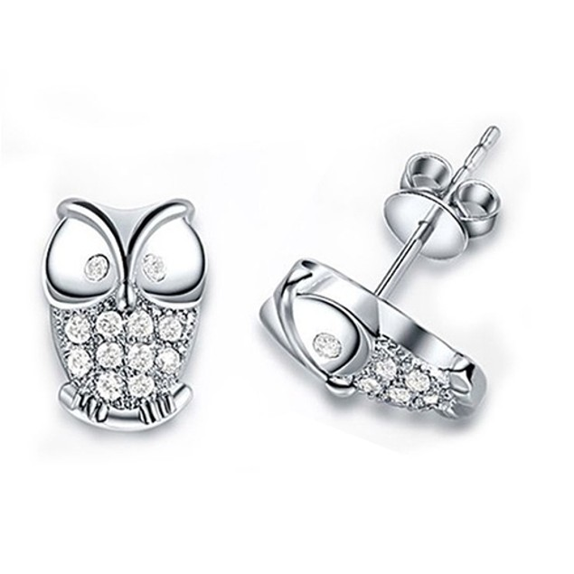 Women Owl Shaped Shiny Rhinestones Earrings