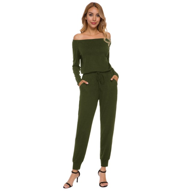 Lilly Posh Women's Off The Shoulder Solid Pant Romper