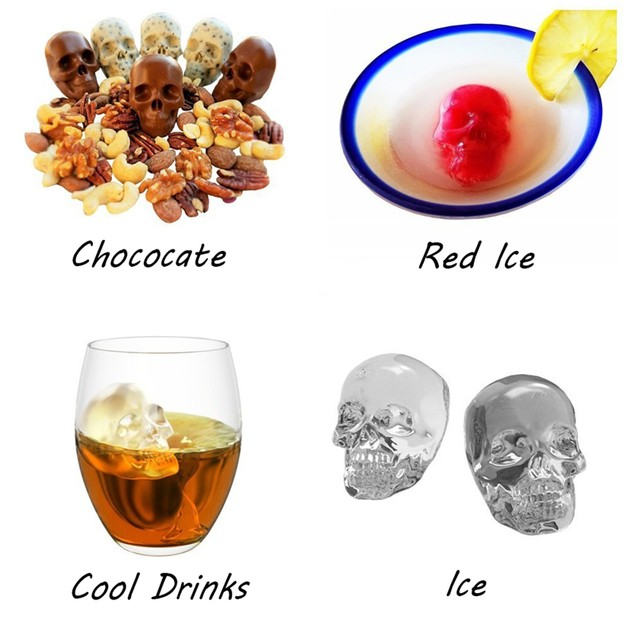 Whiskey 3D Skull Silicon Ice Cube Ball Maker Mold
