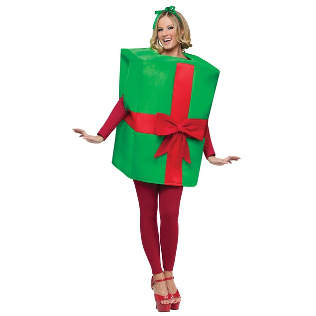 Christmas Present Costume Gift Box Adult Xmas Wrap Ribbon Green Red Bow