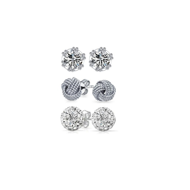 Set Of 3 Sterling Silver Studs