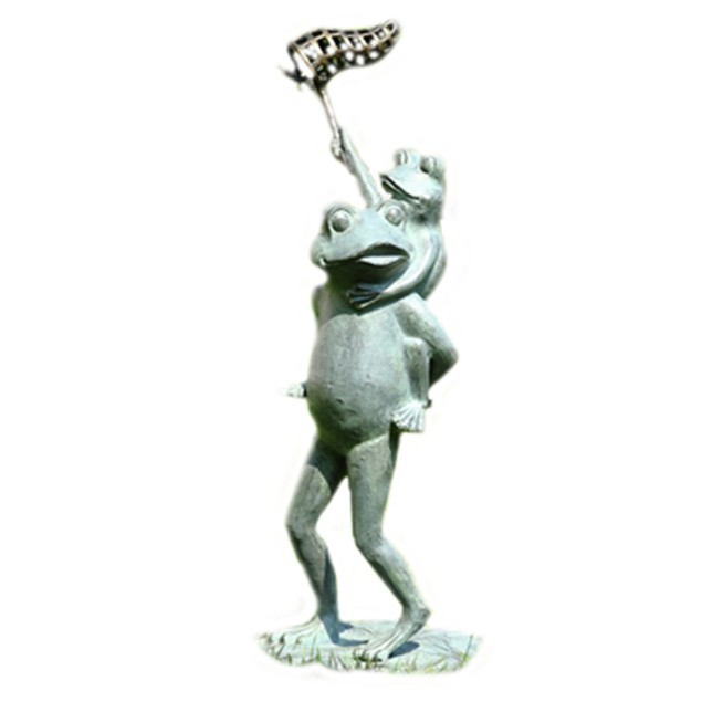 Adorable Butterfly Chasers Frogs Garden Sculpture Outdoor Statues