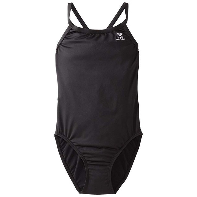 TYR Girl's Durafast Elite Solid Diamondfit Swimsuit (Black, 26)
