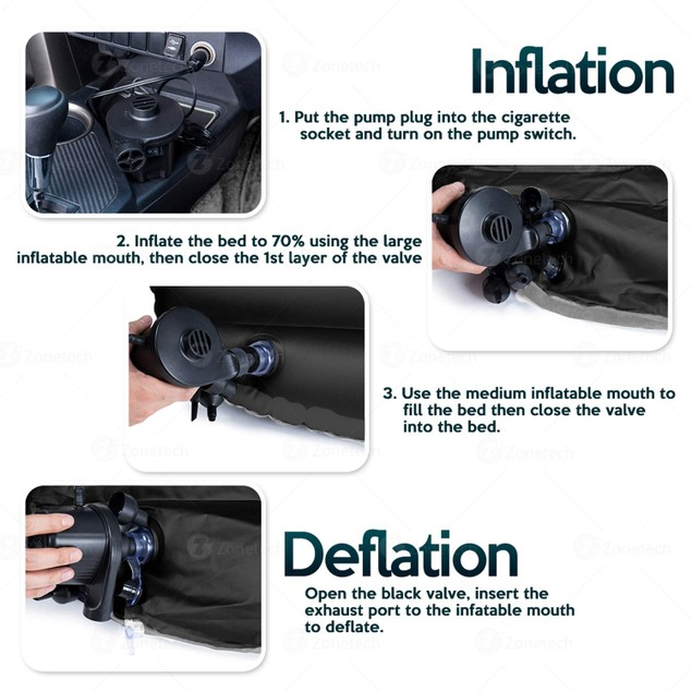 Zone Tech Inflatable Travel Car Mattress Air Bed Rest Mat w/ 2 Pillows