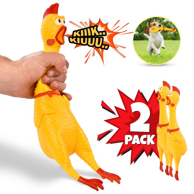 """2-Pack Hilarious 15"""" Rubber Screaming Chicken Novelty Toy for Kids & Pets"""
