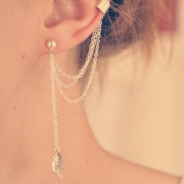 Punk Personality Clip Tassel leaf Charm Metal Ear Clip Stud Earring