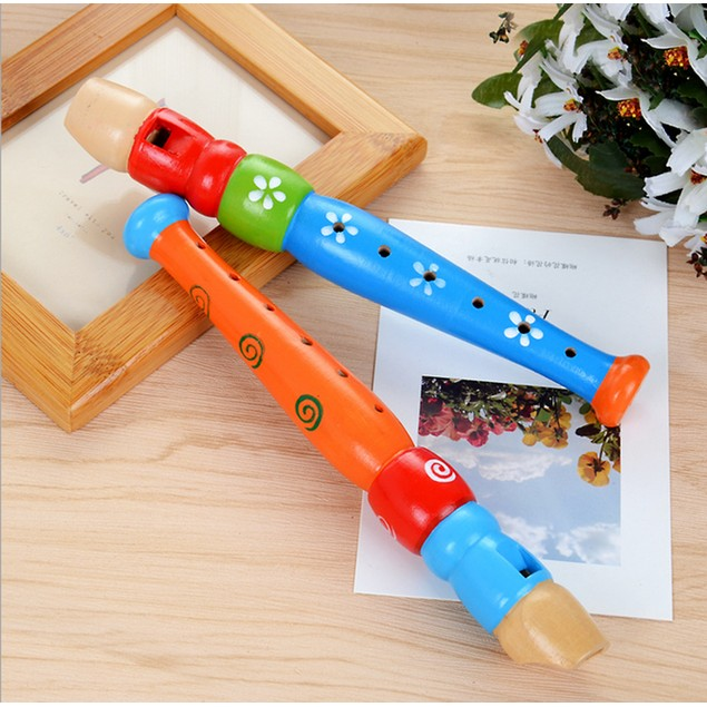 Colorful Wooden Trumpet Buglet Hooter Bugle Educational Toy