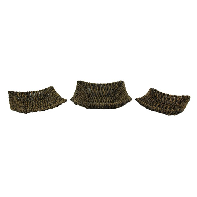Set Of Three Woven Seagrass Decorative Trays Decorative Trays