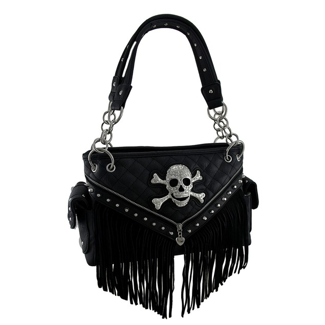 Rhinestone Skull Quilt Stitch Fringed Concealed Womens Shoulder Handbags