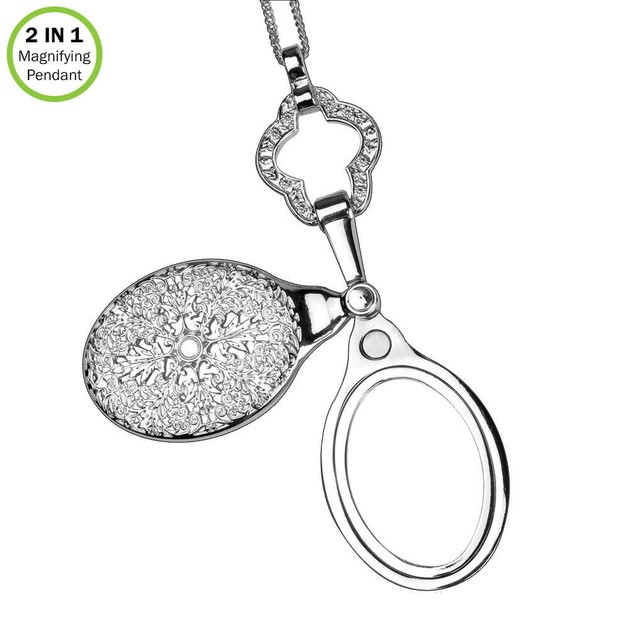 Magnifying Pendant-4X Sliding Magnifier-Vintage Necklace-Silver-With Chain