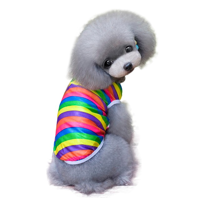 New Colorful Pet Dog Clothes Apparel stripe T Shirt Size S M L XL XXL