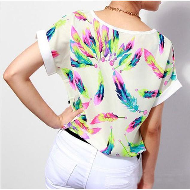 Women's Chiffon Short Sleeve Blouse