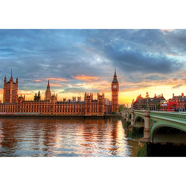Sunset on the River Thames 1000 Piece Puzzle, 1,000 Piece Puzzles by Educa