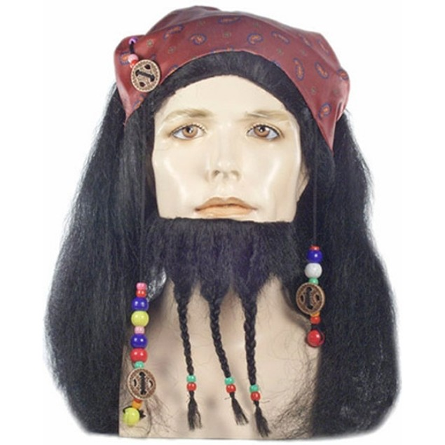 Captain Jack Sparrow Wig And Beard Pirates of The Caribbean Costume Mens