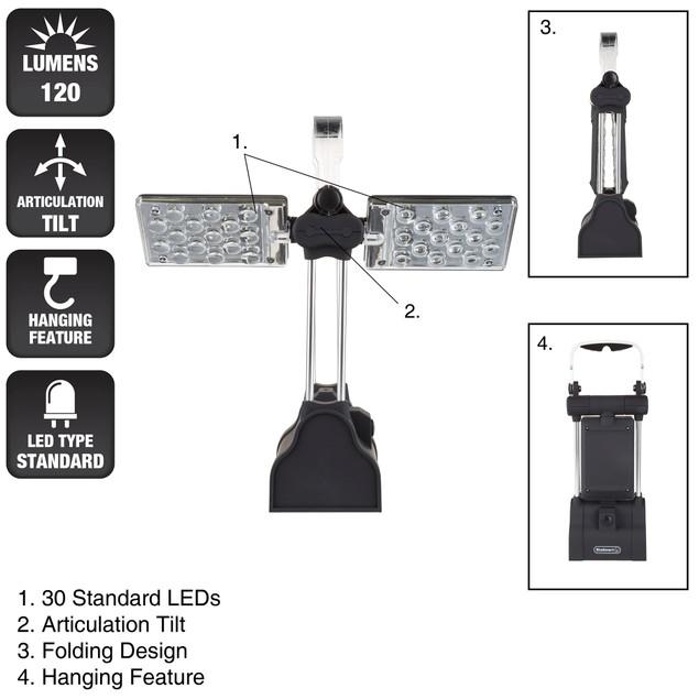 Stalwart 30 LED Winged Work Light - Black