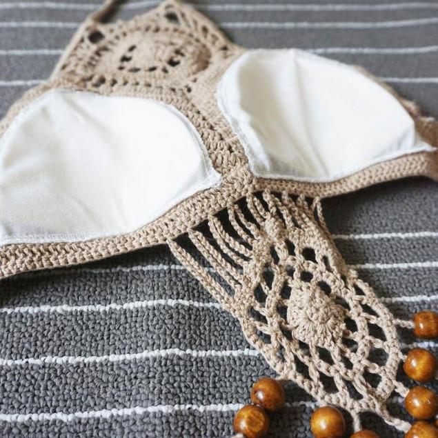 Bohemian Knitted Sexy Split Swimsuit Bikini  Beach Fringed