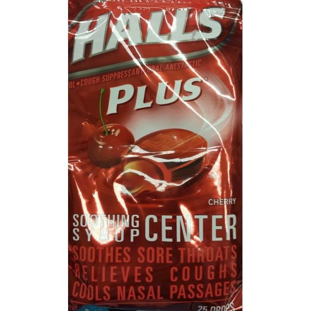 Halls Plus Drops Cherry 25 Count Each Bag 2 Pack