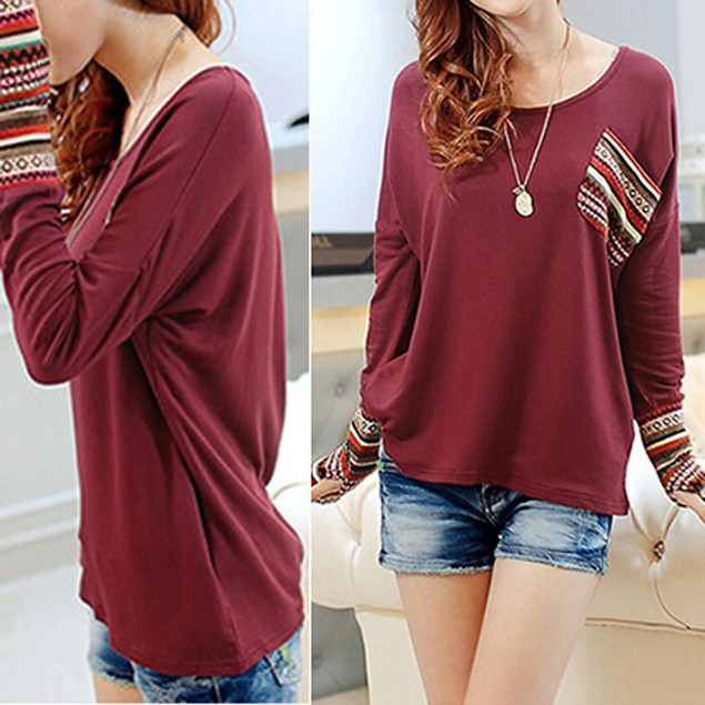 Womens Long Sleeve Round Neck Checked Loose Shirt Blouse Tops