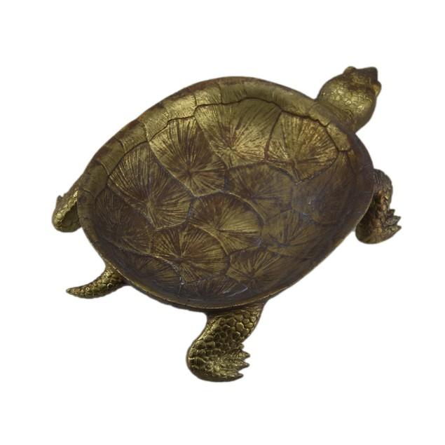 Gold Leaf Finish Decorative Turtle Centerpiece Decorative Trays