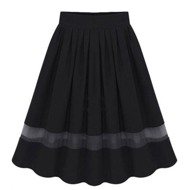 Women Stretch High Waist Plain Flared Pleated Long Maxi Skirt Dress
