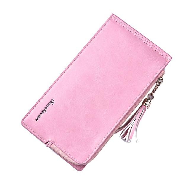 Women Fashion Zipper Leather Wallet Leisure Bag Long Purse