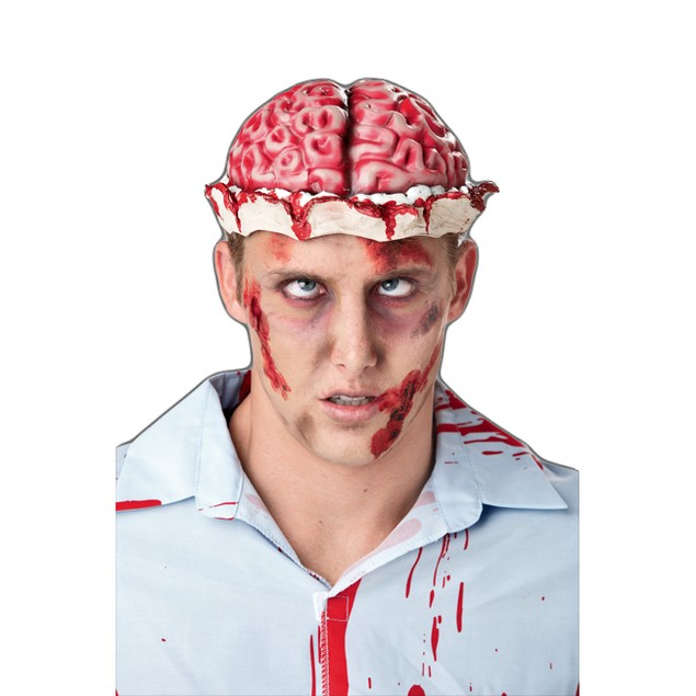 Zombie Brain Fake Headpiece Hat Wig Skull Cap Bloody Horror Adult Costume