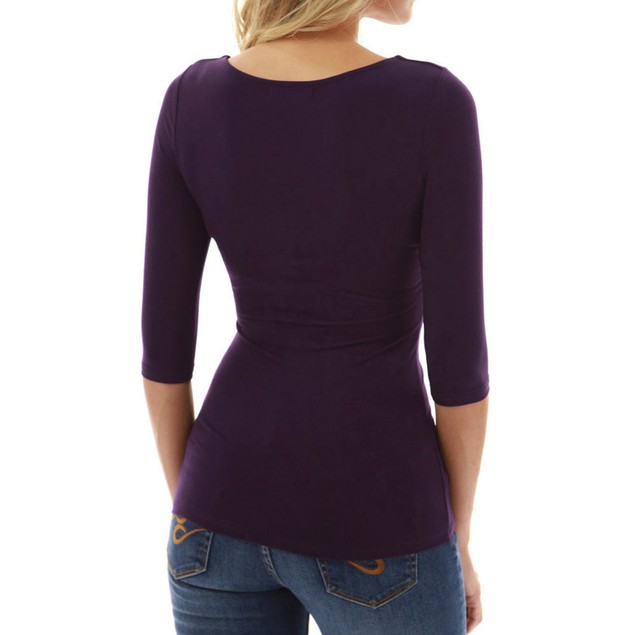 Women Ladies Casual Zipper T-shirt Three Quarter Sleeve Tops Blouse