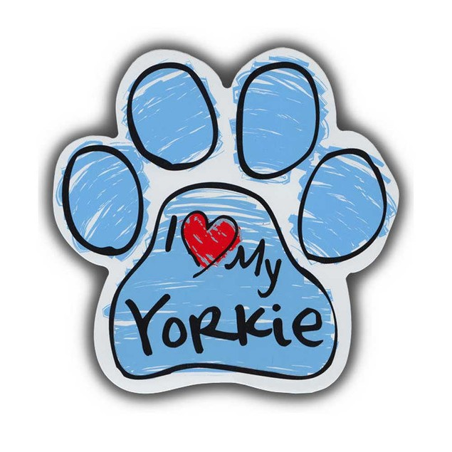 Blue I Love My Yorkie Scribble Paw Magnet