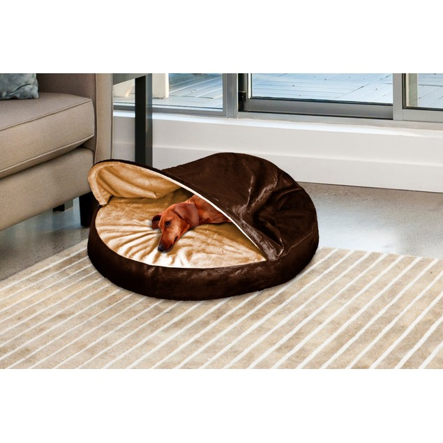 FurHaven Orthopedic Round Microvelvet Snuggery Burrow Pet Bed